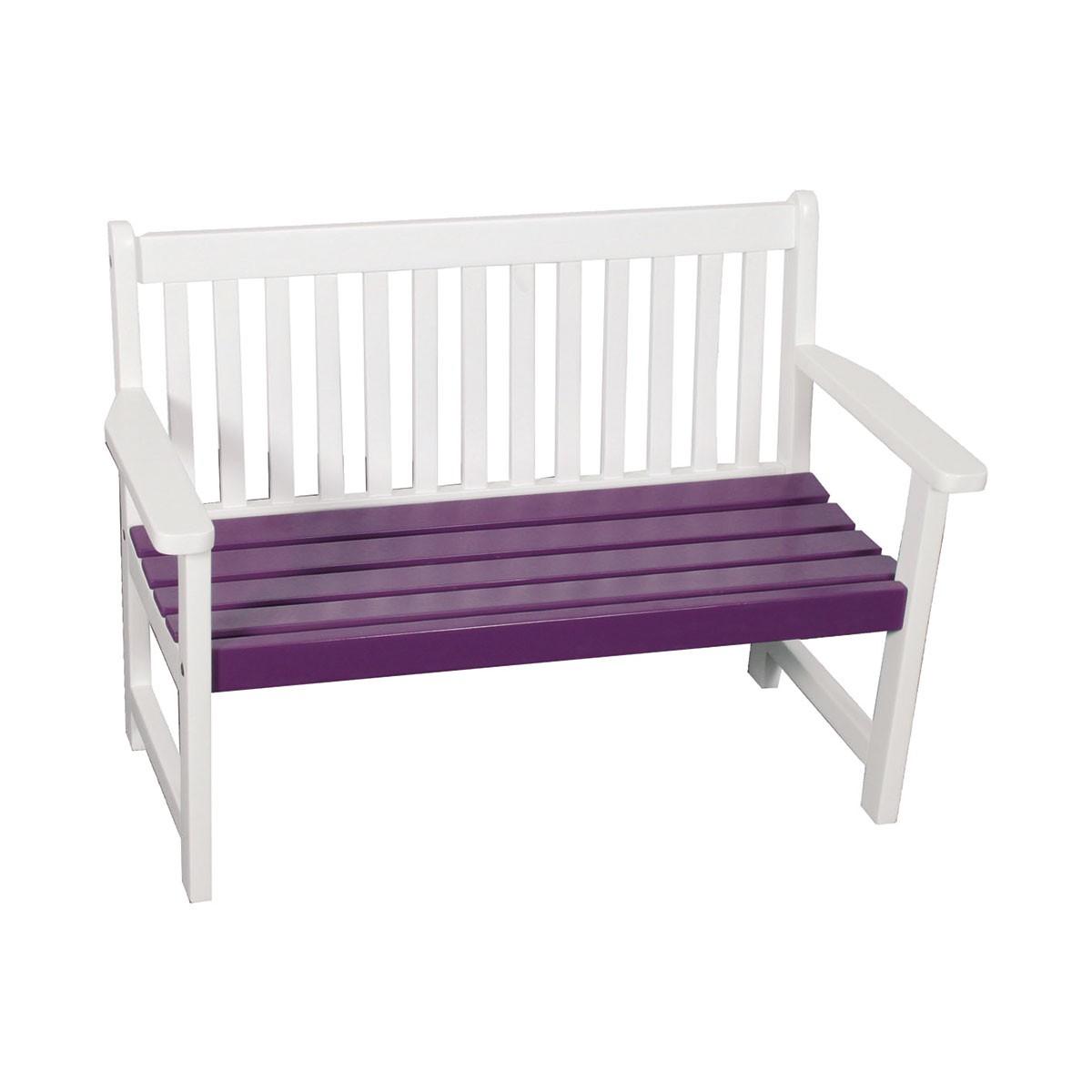 massive bank f r kinder akazie fsc lackiert wei lila kinderbank holzbank ebay. Black Bedroom Furniture Sets. Home Design Ideas