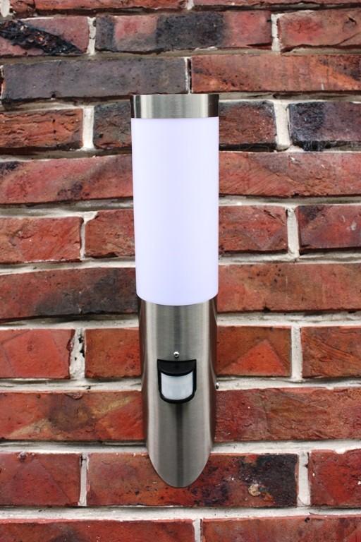 Edelstahl-Aussenlampe-mit-Leuchtmittel-LED-7-Watt-Fackel-inkl-Bewegungsmelder