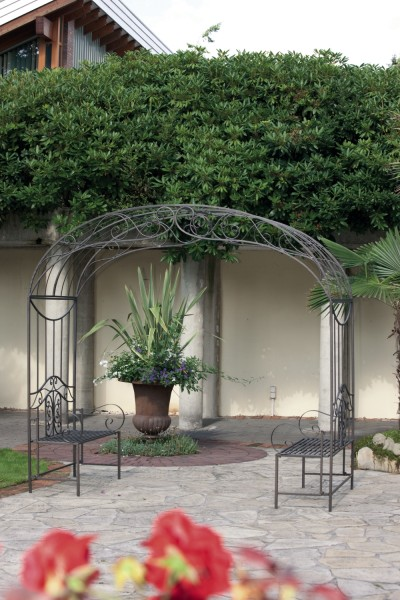 metall rosenbogen rankbogen spalier mit bank gartenbank. Black Bedroom Furniture Sets. Home Design Ideas