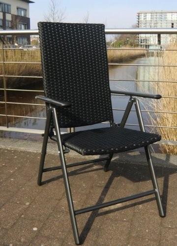 poly rattan hochlehner klappstuhl gartenstuhl alu graphit schwarz ebay. Black Bedroom Furniture Sets. Home Design Ideas