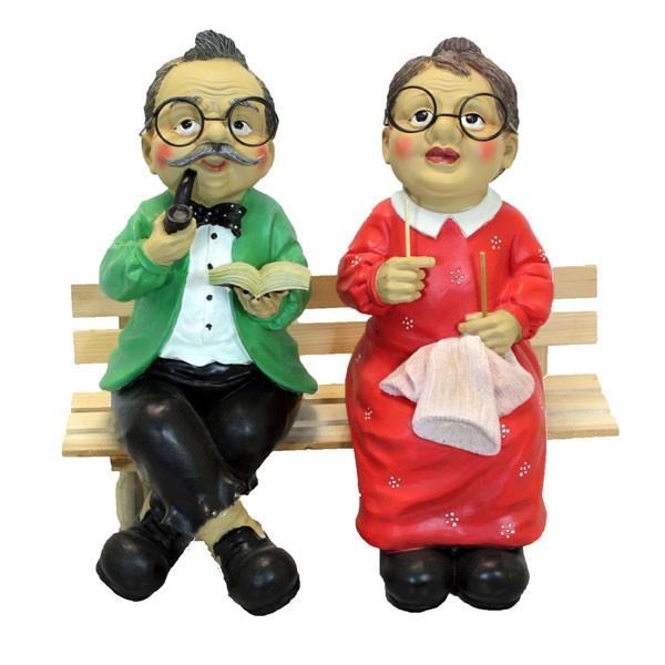 Oma Und Opa Sitzen Auf Der Bank Holzbank Gartenbank Gartenfigur Ebay