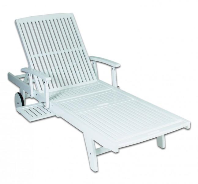 massive gartenliege wei saunaliege relaxliege sonnenliege rollliege fsc ebay. Black Bedroom Furniture Sets. Home Design Ideas