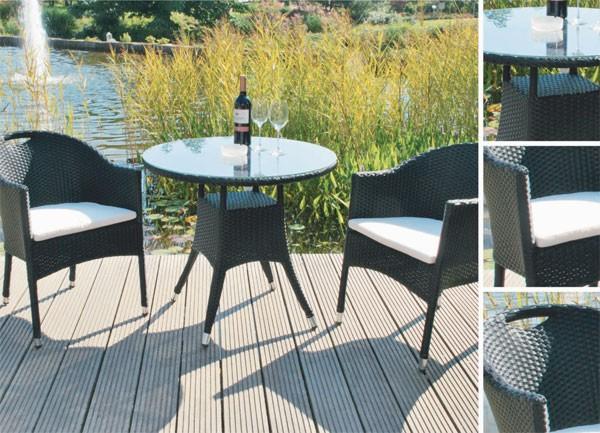 sitzgruppe gartengarnitur polyrattan sessel stapelbar schwarz ebay. Black Bedroom Furniture Sets. Home Design Ideas