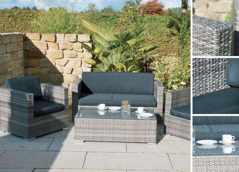 Sitzgruppe gartengarnitur polyrattan wohnset 1x bank 1x for Gartengarnitur polyrattan