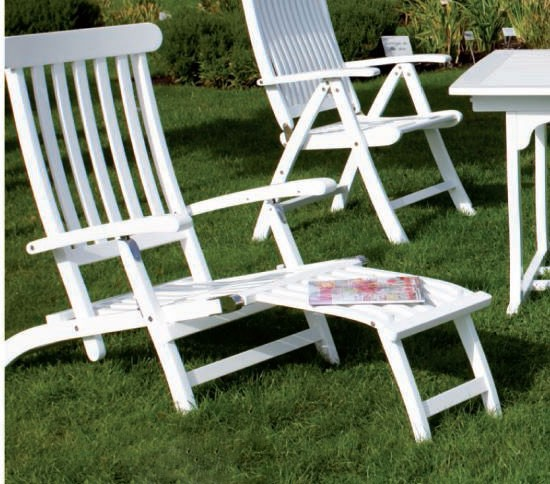 deckchair liegestuhl gartenliege relaxliege akazienholz wei lackiert ebay. Black Bedroom Furniture Sets. Home Design Ideas