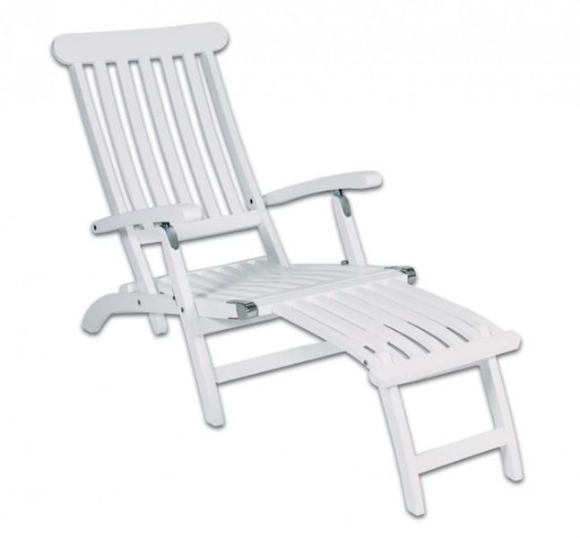 deckchair liegestuhl gartenliege relaxliege akazienholz wei lackiert ebay. Black Bedroom Furniture Sets. Home Design Ideas