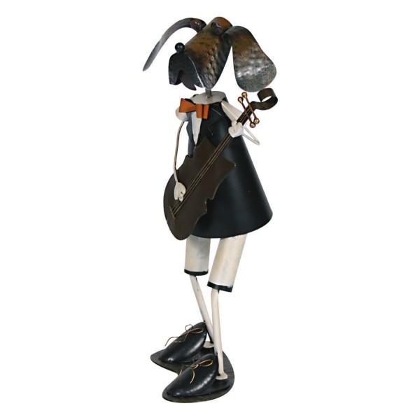 Deko hund mit gitarre figur metall 64 cm gartendekoration bunt bemalt ebay - Gartendekoration metall ...