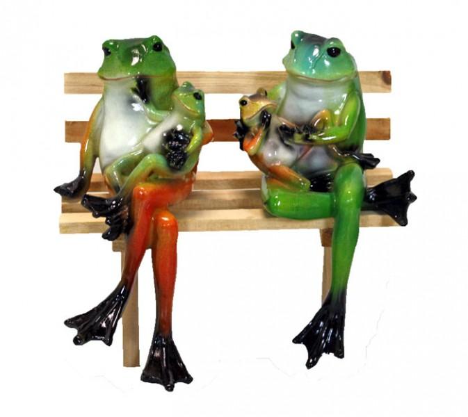 2 fr sche auf gartenbank holzbank tierfigur frosch skulptur ebay. Black Bedroom Furniture Sets. Home Design Ideas