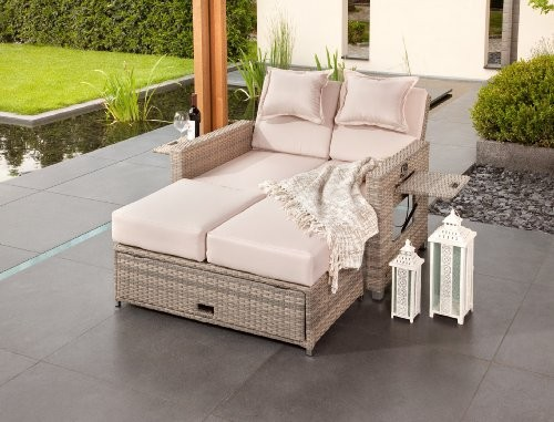 Edles lounge sofa 3 in 1 doppel gartenliege for Garten lounge klein
