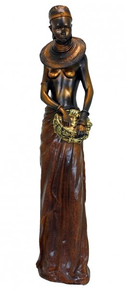 afrikanische massai frau gold dekofigur gartenfigur skulptur statue ebay. Black Bedroom Furniture Sets. Home Design Ideas