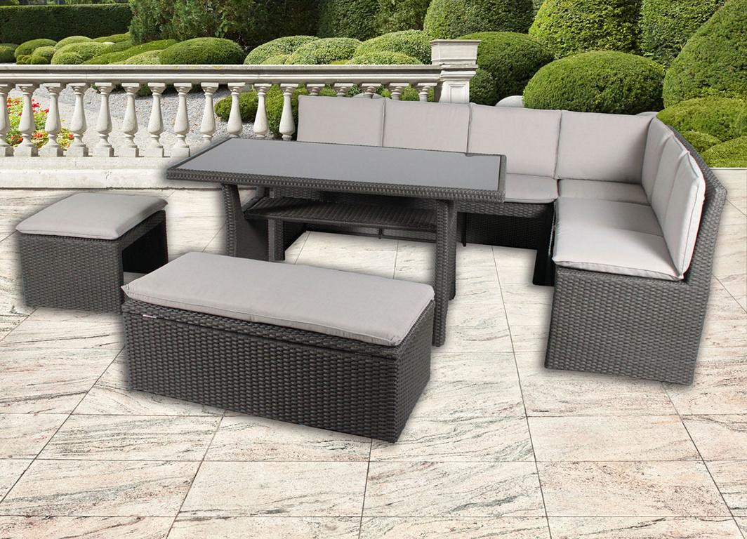 gartenset alu 5 tlg grau m kissen garten m bel set lounge terrassenm bel ebay. Black Bedroom Furniture Sets. Home Design Ideas
