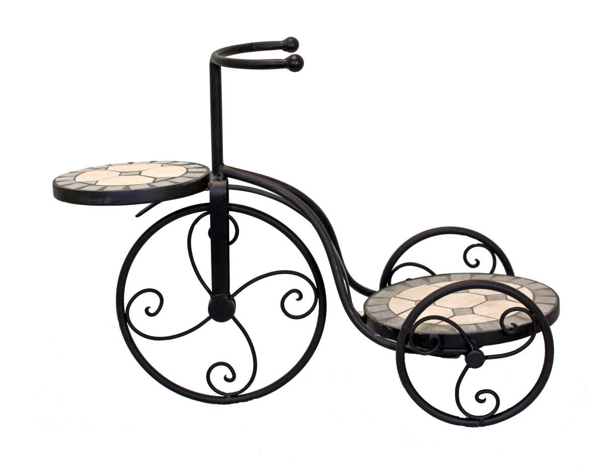 Blumenst nder fahrrad mit 2 mosaikplatten gartendeko dekofahrrad blumentreppe ebay - Gartendeko fahrrad ...