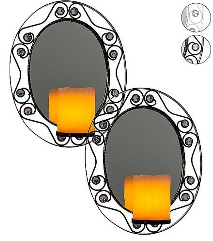 wundersch ne wandhalter mit spiegel und led kerzen 2 er set 2 farben w hlbar ebay. Black Bedroom Furniture Sets. Home Design Ideas