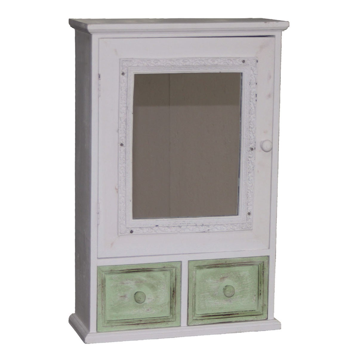 wohnzimmerlampen holz:Holz-Hängeschrank, 2 Schubladen, 1 Tür mit Spiegel, Deko, 34x14x60