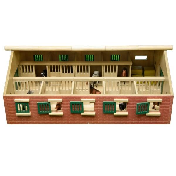 wohnzimmerlampen holz:Pferdestall aus Holz, mit 9 Boxen, Reiterstall, 1:32 Spielzeug