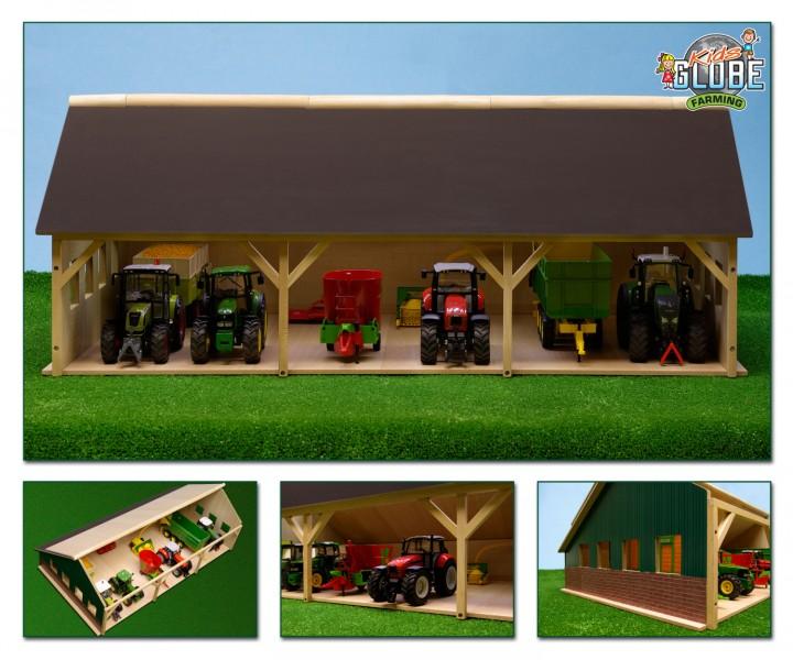 wohnzimmerlampen holz:Bauernhof Schuppen Holz 1:32 , passend zu Siku, Traktorschuppen für 6